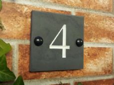 Engraved  solid slate house number sign – 100mm x 100mm; 4 inches x 4 inches